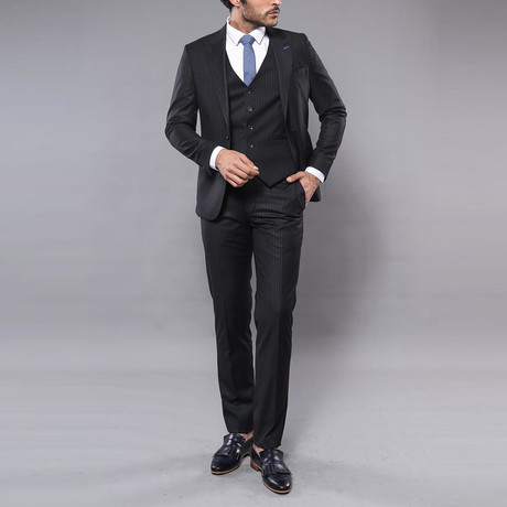 Jason 3-Piece Slim Fit Suit // Black (Euro: 44)