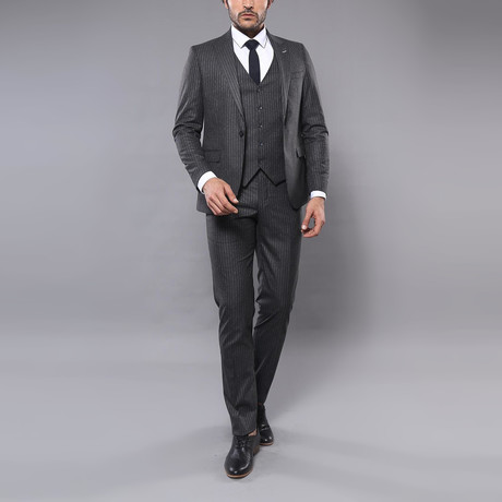 Marco 3-Piece Slim Fit Suit // Smoked (Euro: 44)