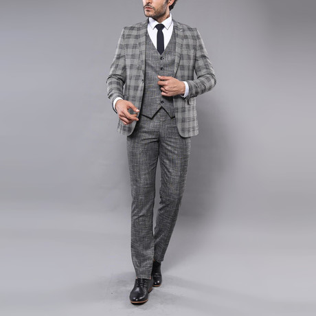 Jaron 3-Piece Slim-Fit Suit // Gray (Euro: 44)