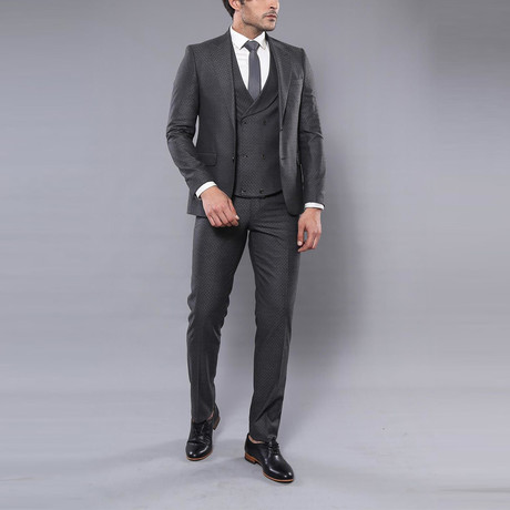Jimmy 3-Piece Slim Fit Suit // Smoked (Euro: 44)