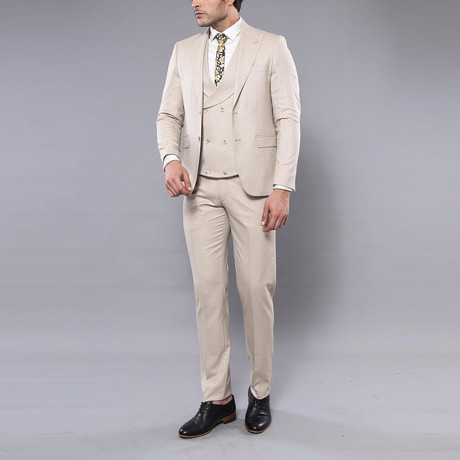 Alessandro 3-Piece Slim Fit Suit // Beige (Euro: 44)
