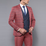 Teagan 3-Piece Slim Fit Suit // Burgundy (Euro: 54)