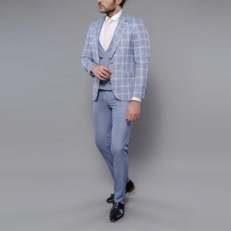 Brady 3-Piece Slim Fit Suit // Light Blue (Euro: 42)