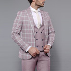 Trent 3-Piece Slim Fit Suit // Burgundy (Euro: 46)