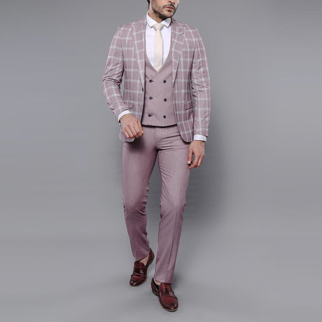 Trent 3-Piece Slim Fit Suit // Burgundy (Euro: 42)