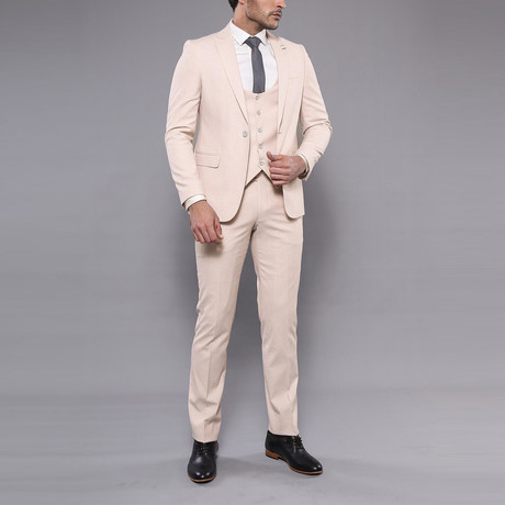 Bailey 3-Piece Slim-Fit Suit // Beige (Euro: 44)