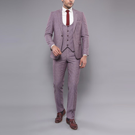 Yael 3-Piece Slim-Fit Suit // Burgundy (Euro: 44)