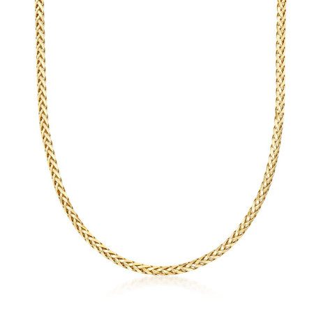 Solid 14K Yellow Gold Diamond Cut Round Wheat Chain Necklace // 3.2mm