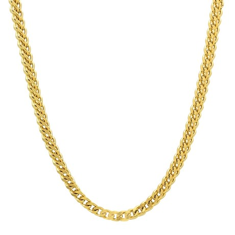 Solid 14K Yellow Gold Square Franco Chain Necklace // 3.2mm