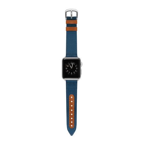 Apple Watch Band // Blue + Saddle (38mm)