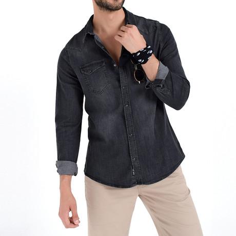 Washed Button Down Shirt // Gray (XL)