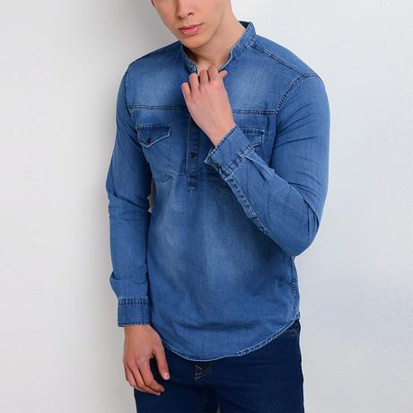 Denim Quarter-Button Shirt // Blue (M)