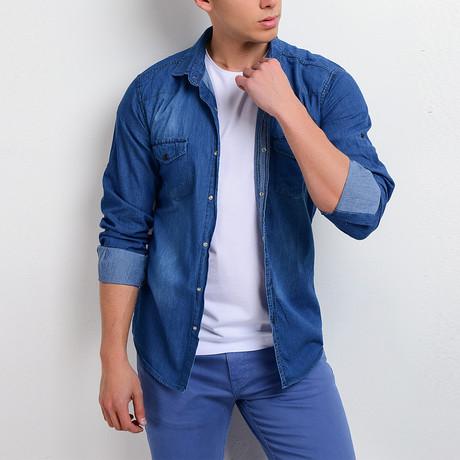 Denim Button Down Shirt // Royal Blue (M)