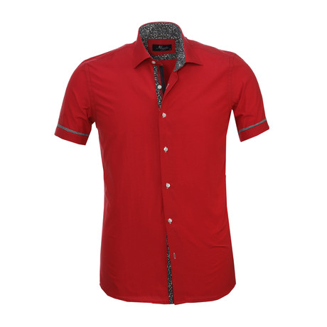 Paisley Trim Short Sleeve Button Down Shirt // Red (S)