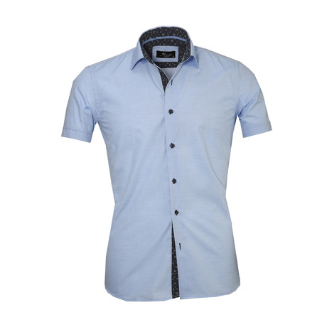 Solid Short Sleeve Button Down Shirt // Light Blue (S)