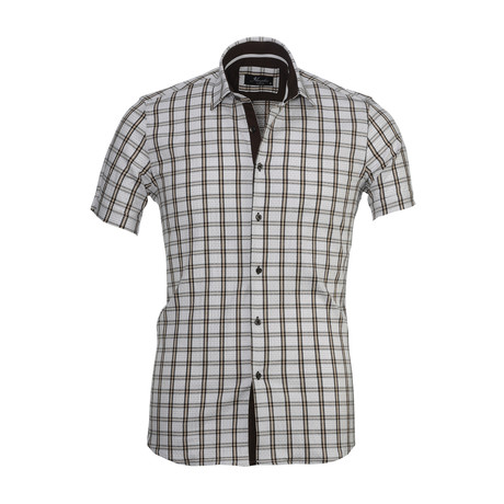 Checkered Short Sleeve Button Down Shirt // White (S)