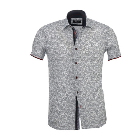 Floral Paisley Short Sleeve Button Down Shirt // White + Black (S)