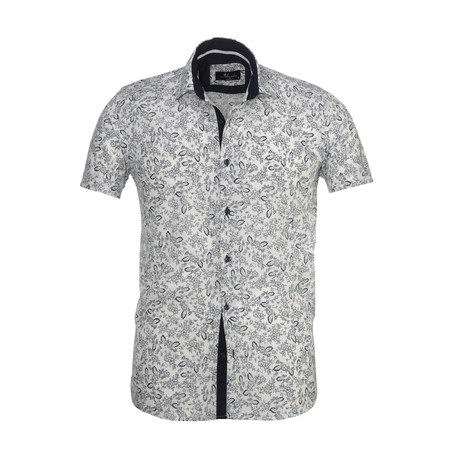 Floral Short Sleeve Button Down Shirt // White + Navy Blue (S)