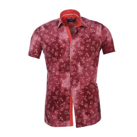 Floral Sheen Short Sleeve Button Down Shirt // Red + White (S)