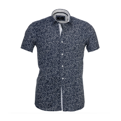 Floral Short Sleeve Button Down Shirt // Dark Gray (S)