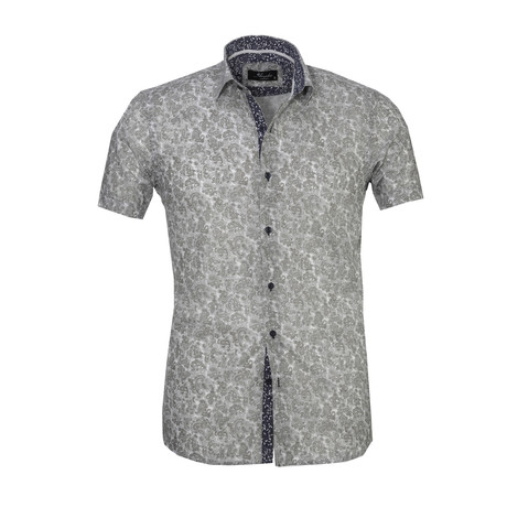 Floral Short Sleeve Button Down Shirt // Light Gray (S)