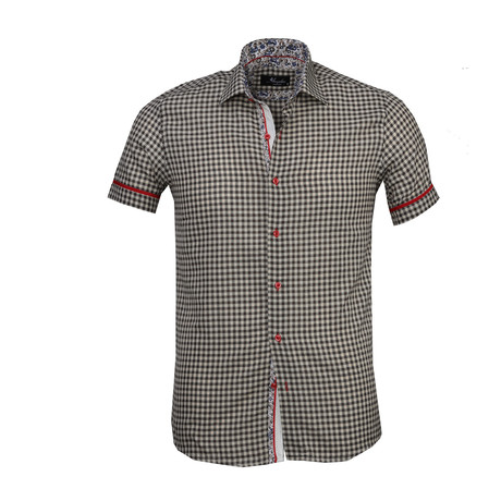 Checkered Short Sleeve Button Down Shirt // Beige + Black (S)