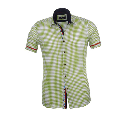 Checkered Short Sleeve Button Down Shirt // Green + White (S)
