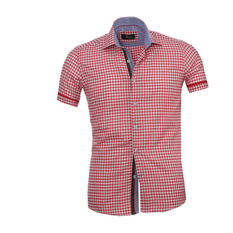 Checkered Short Sleeve Button Down Shirt // Red + White (S)