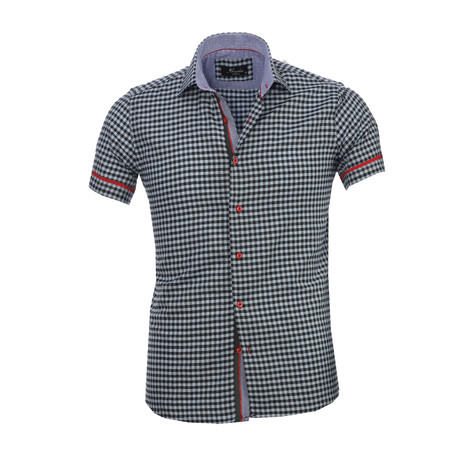 Checkered Short Sleeve Button Down Shirt // Light Blue + Black (S)