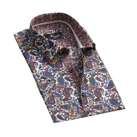 Paisley Short Sleeve Button Down Shirt // Multicolor (S)