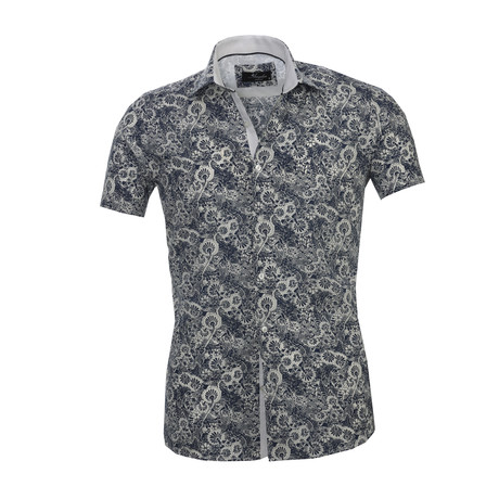 Floral Short Sleeve Button Down Shirt // Dark Blue + White (S)