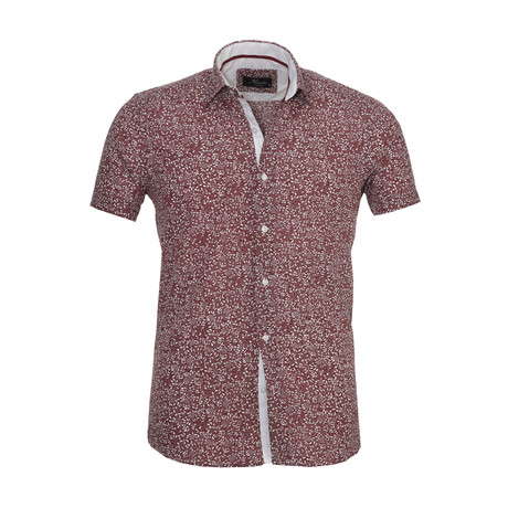 Floral Short Sleeve Button Down Shirt // Burgundy (S)