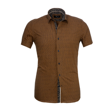Checkered Short Sleeve Button Down Shirt // Light Brown (S)