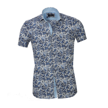Paisley Short Sleeve Button Down Shirt // White + Blue (S)