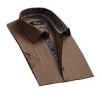 Checkered Short Sleeve Button Down Shirt // Light Brown (S)