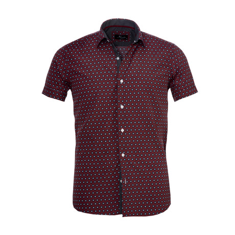 Circles Short Sleeve Button Down Shirt // Burgundy (S)