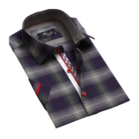 Plaid Short Sleeve Button Down Shirt // Purple + Gray (S)
