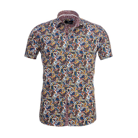 Paisley Short Sleeve Button Down Shirt // Multicolor (S)