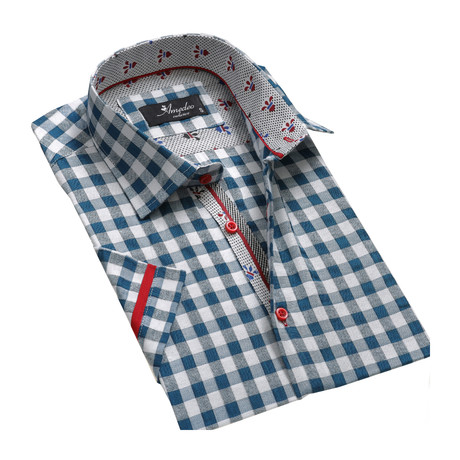 Checkered Short Sleeve Button Down Shirt // Blue + White (S)