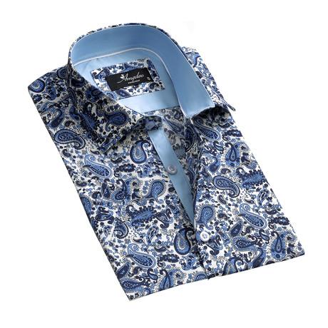 Paisley Short Sleeve Button Down Shirt // White + Blue (S)