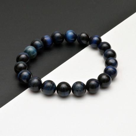 Tiger Eye Beaded Bracelet // Blue