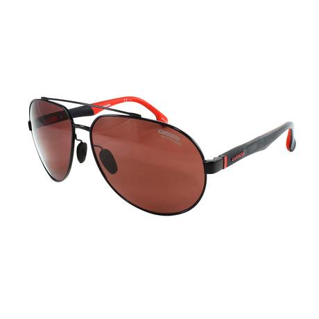 Carrera // Men's 8025S Polarized Sunglasses // Matte Black + Red