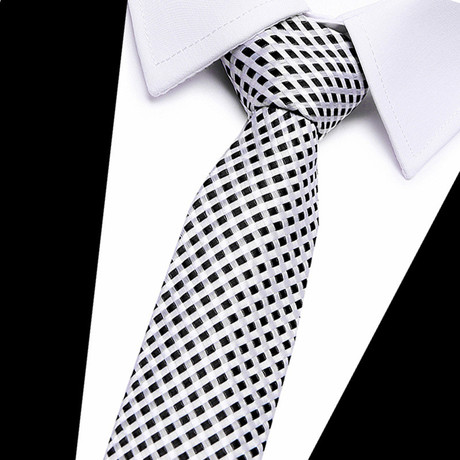 Neck Tie // White + Black Cross Stripe