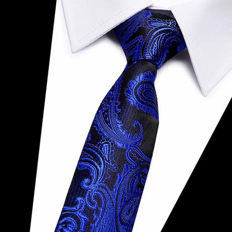 Neck Tie // Black + Dark Blue Paisley