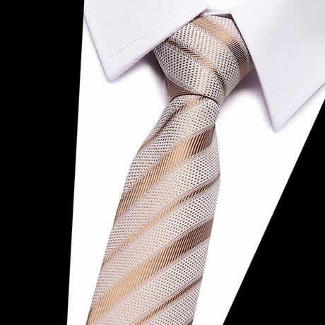 Neck Tie // Cream + Tan Stripe