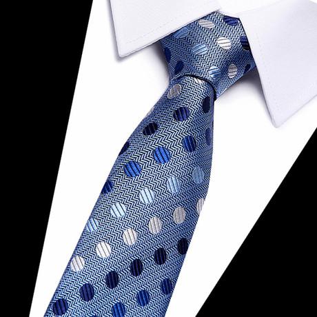 Neck Tie // Slate Blue Polka Dot
