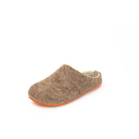 Pine House Slipper // Brown + Orange Sole + Yellow Stitching (Euro: 36)