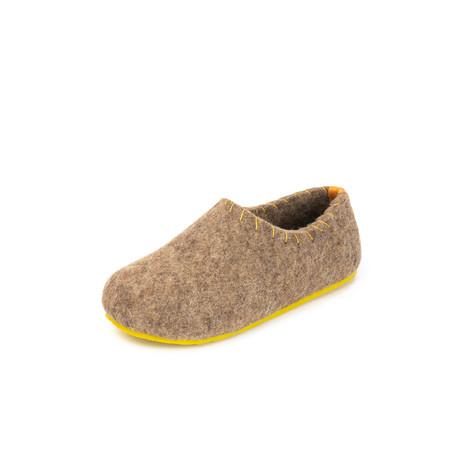 Yew House Slipper // Brown + Yellow Stitching (Euro: 36)