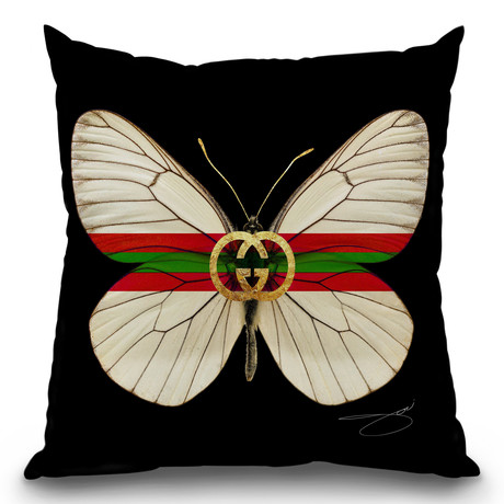 "Fly Like Butterfly G Throw Pillow (16"" x 16"")"