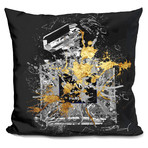 """Explode In Black Throw Pillow (16"""" x 16"""")"""